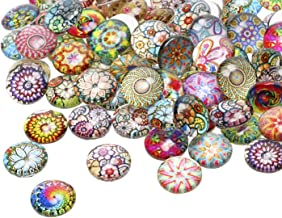 12mm 100Pcs Mosaic Printed Half Round Glass Dome Cabochons Tiles Colored Pattern Charms for DIY Craft Photo Charms Bezel P...