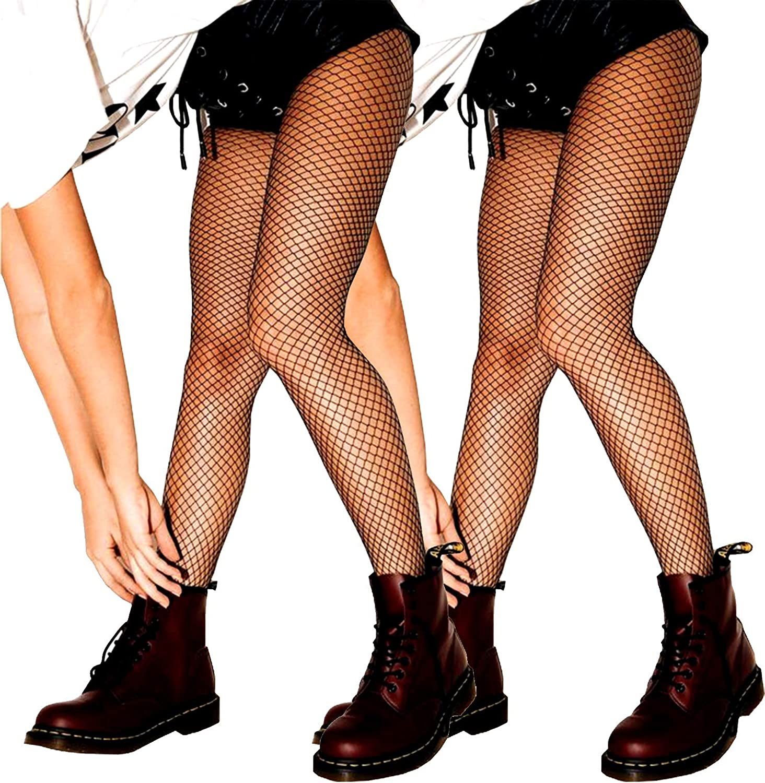SUREPOCH Women 2 Pairs Fishnet Stockings Black Mesh Pantyhose High Waist Rhinestone Tights