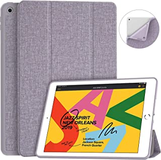 """Soke iPad 7th Generation Case, iPad Case 10.2 Inch 2019, Fabric-Like Texture Smart Case Shockproof Soft TPU Back Cover with Auto Sleep/Wake for New Apple iPad 7th Gen 10.2"""", Violet"""