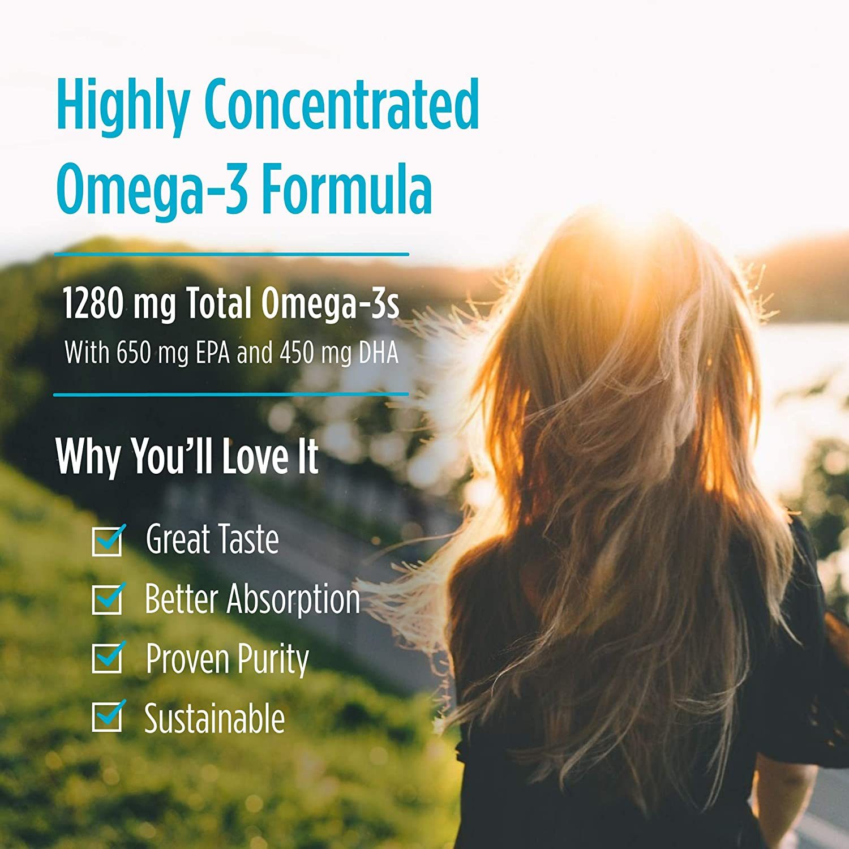 Nordic Naturals ProOmega, Lemon Flavor - 1280 mg Omega-3-180 Soft Gels - High-Potency Fish Oil with EPA & DHA - Promotes Brain, Eye, Heart, & Immune Health - Non-GMO - 90 Servings