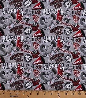 Cotton University of Alabama Crimson Tide Bama UA Big Al Elephant Mascot Logos Allover on Gray NCAA College Sports Team Digital Print Cotton Fabric Print by The Yard (D663.52)