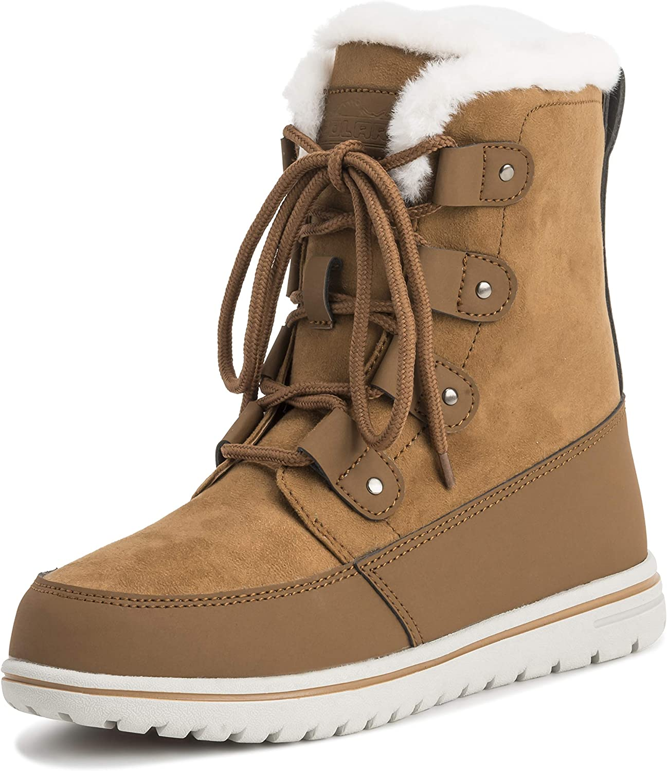 Polar Womens Quilted Short Faux Fur Snow Waterproof Winter Durable Warm Boots - 7 - TAN38 AYC0522