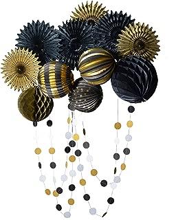 PAPER JAZZ Black Gold Pinwheel Fan Lantern Honeycomb Ball Party Decoration Pack kit