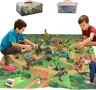 HOOME Dinosaur Toy Figure w/ Activity Play Mat & Trees, Educational Realistic Dinosaur Playset to Create a Dino World Incl...
