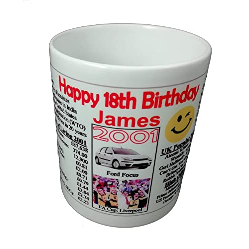 18TH BIRTHDAY MUG 2001 -PERSONALISED WITH YOUR NAME- THE YEAR YOU WERE BORN INFO