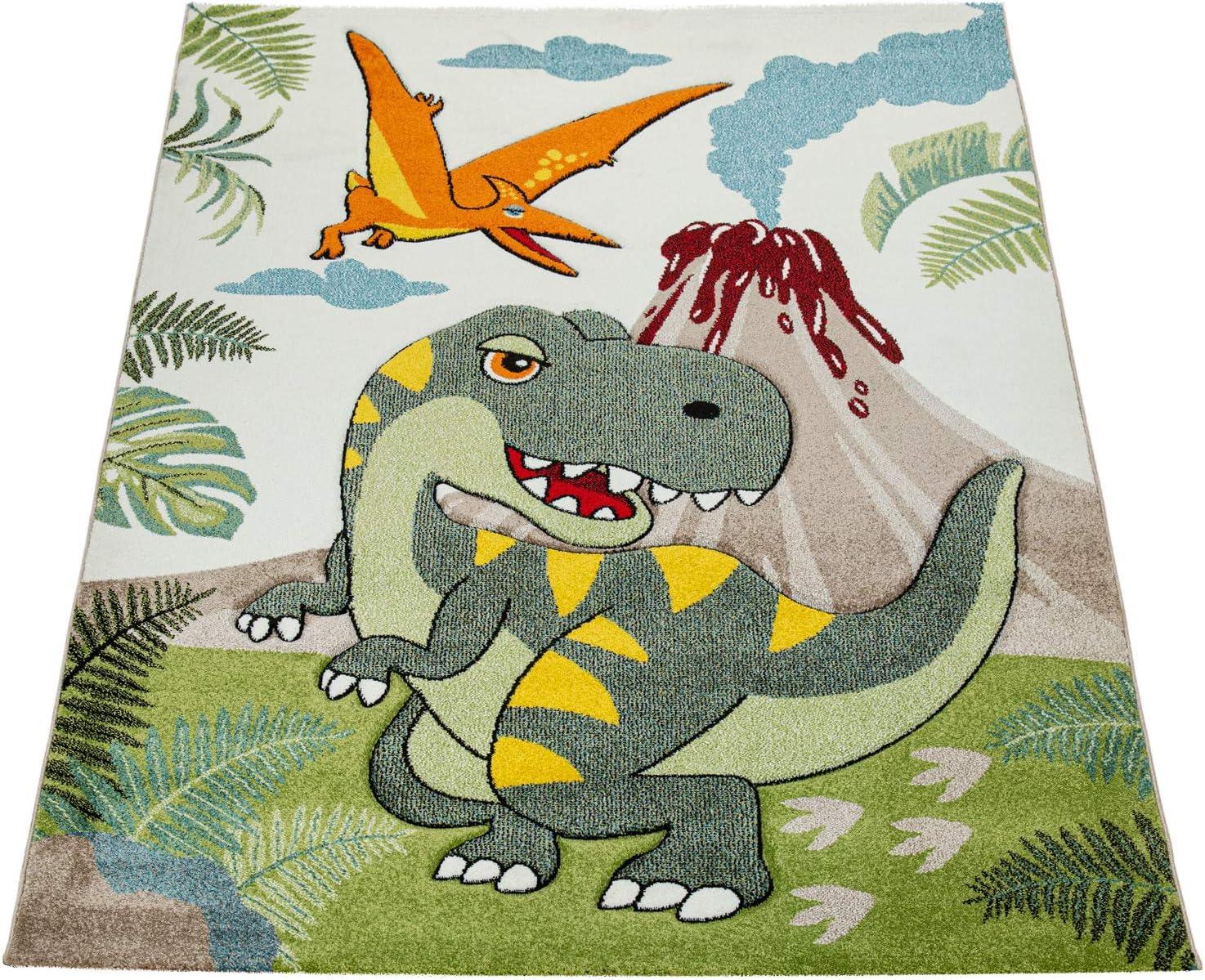 Paco Home Kinderzimmer Teppich Gr/ün Dinosaurier Dschungel Vulkan 3-D Effekt Kurzflor Gr/össe:200x290 cm