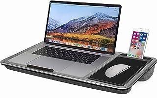 Escritorio portátil para laptop, mesa portátil con alfombrilla de ratón integrada y soporte para teléfono, se adapta a portátiles de hasta 17 pulgadas