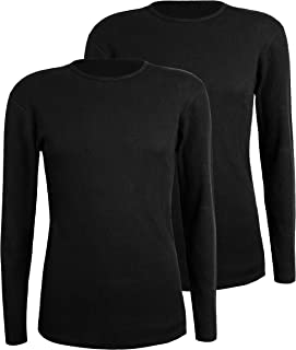 Men's 2-Pack Thermal Long Sleeve Undershirt Top Underwear Waffle Knit Soft Comfy Crew Neck