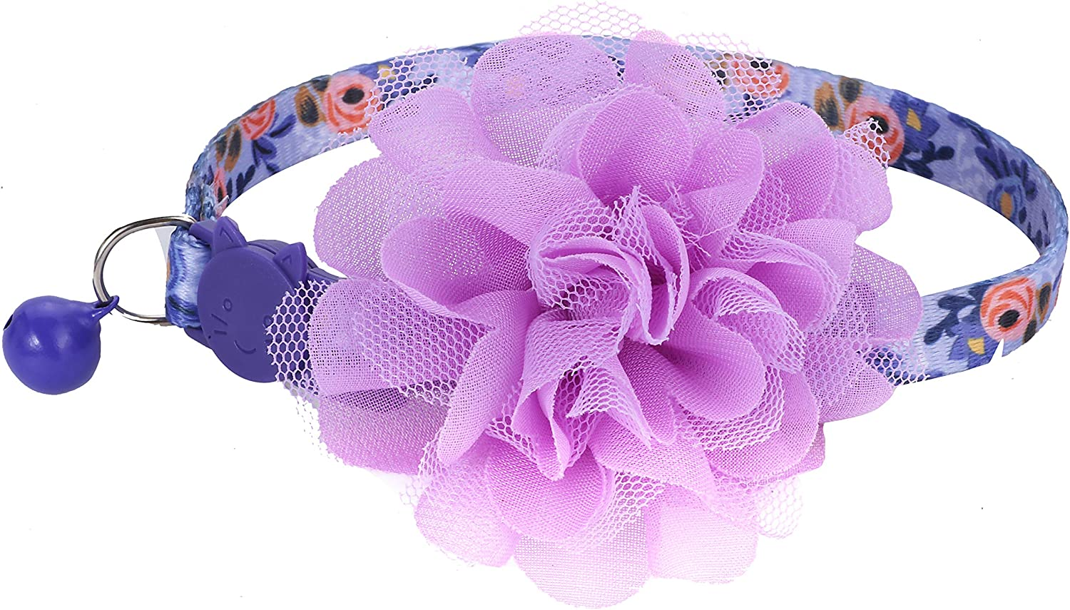 Max 71% OFF BoomBone Floral Cat Collar with Br Indefinitely Flower Purple Charm Removable