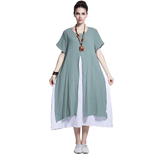 d9c1befcd40 Anysize Fake-Two-Piece Soft Linen Cotton Dress Spring Summer Plus Size  Clothing Y110