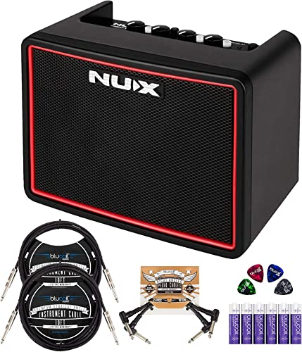 wholesale NUX Mighty Lite BT Portable Mini Amplifier sale Bundle with Blucoil 2-Pack of 10-FT Straight Instrument Cables (1/4in), 2-Pack of Pedal Patch Cables, 4x Guitar sale Picks, and 6 AA Batteries outlet sale