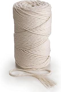 MB Cordas Corde Macramé 3mm 280m, 1kg Cordon en Coton Naturel - Simple Brin Torsadé Ficelle de Macramé, Crochet, Tricot - ...