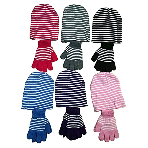 b979a7599ab excell Ladies 2 Piece Set Of excell Striped Winter Glove And Hat Set  Assorted Colors