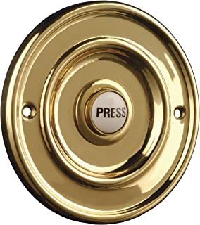 2207/P1 Round Wired Bell Push Flush Fit Brass