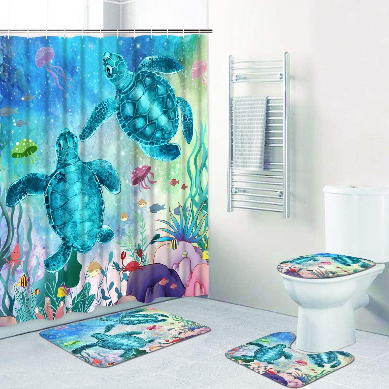 Ranking TOP20 Alishomtll 4 Pcs Sea Turtle Brand Cheap Sale Venue Shower Non-Slip Curtain with Set Rug