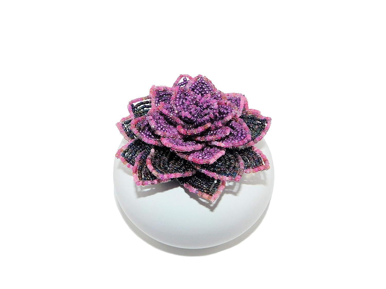 Selling 4 security Inch Handmade Beaded Purple Ceram in Succulent White Echeveria