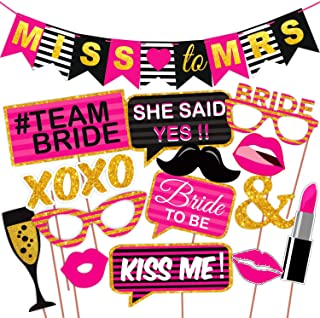 WOBBOX Bachelorette Party Photo Booth Props and Party Banner - (Pink and Glitter Printed) (14 Pcs)