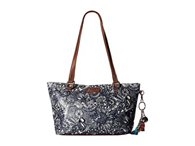 Sakroots Artist Circle Small Satchel (Navy Spirit Desert) Tote Handbags