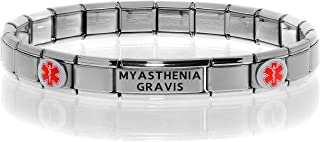 Medical Alert ID Bracelet - Customize Fitting and Engraving - Stretchable Modular Charm Link - Stainless Steel