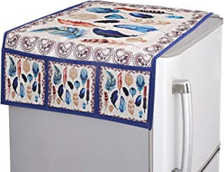 Kuber Industries Birds Wings Design Cotton Fridge/Refrigerator Top Cover (Cream & Blue)-CTKTC032705, Standard