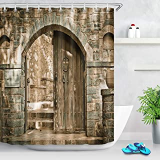 123456789 Baño Impermeable Retro Pared de ladrillo Arco Puerta de Madera rústica Cortina de Ducha Gancho