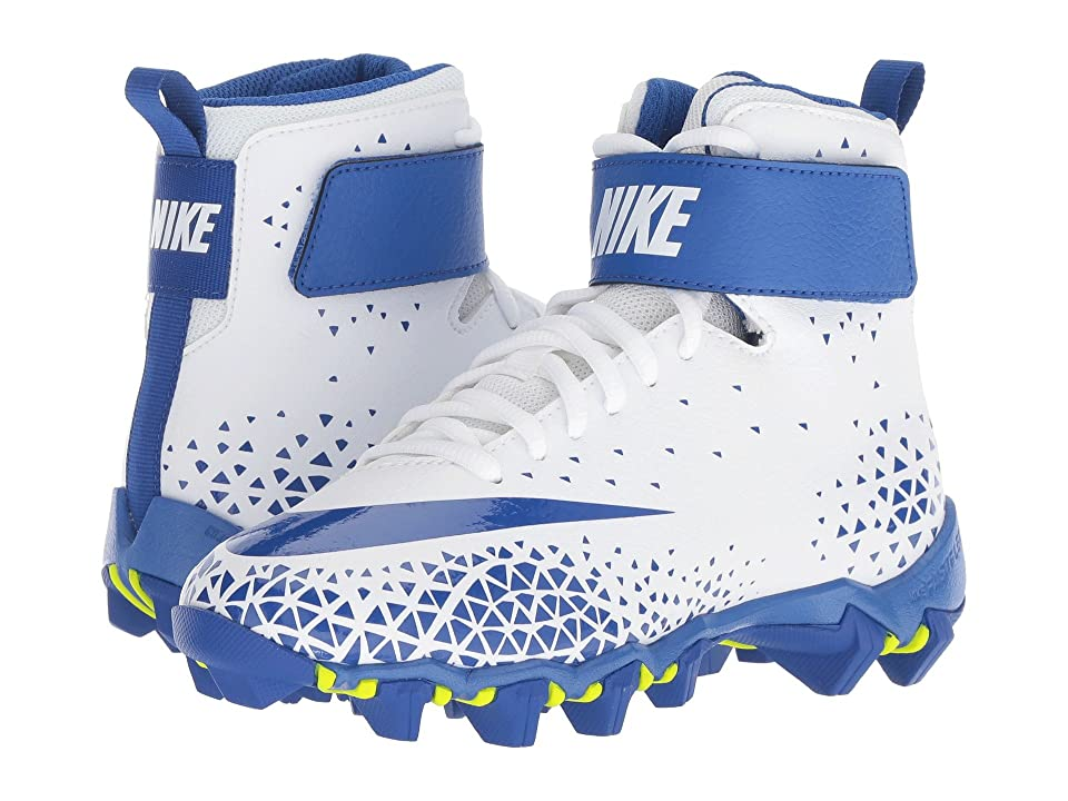 Nike Kids Force Savage Shark Football (Toddler/Little Kid/Big Kid) (White/Game Royal/Game Royal) Boys Shoes