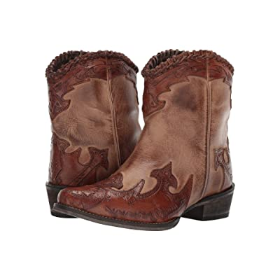 Roper Abigale (Burnished Brown Leather/Tooled Wingtip & Crown) Cowboy Boots