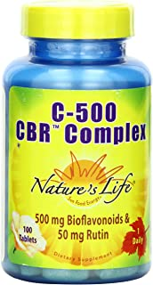 Nature's Life C500 CBR Xommon, 500 mg Bioflavonoids & 50 mg Rutin, 100 Tablets