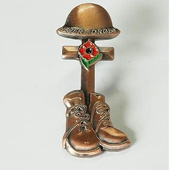 Vintage UK Military Soldier Army Helmet Boots Red Poppy Brooch Enamel Pin Badge