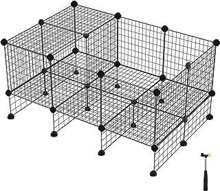 BUONDAC 12piezas Vallas Animales Peque/ños Mascotas Cachorro Conejos Jaula Animales Perros Peque/ños Met/álica Interior Exterior con 22 Conectores