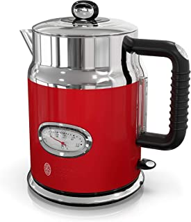 Russell Hobbs Retro Style 1.7L Electric Kettle, Red & Stainless Steel, KE5550RDR (Renewed)