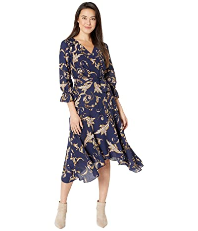Tahari by ASL Petite Long Sleeve Printed Crepe Status Print Dress w/ Uneven Hemline (Navy/Beige/Floral) Women