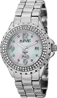 August Steiner Women's Crystal Bezel Fashion Watch - White Mother of Pearl Diamond Dial with Big Number Hour Markers + Bonus Day of Week and Date Window on Bracelet