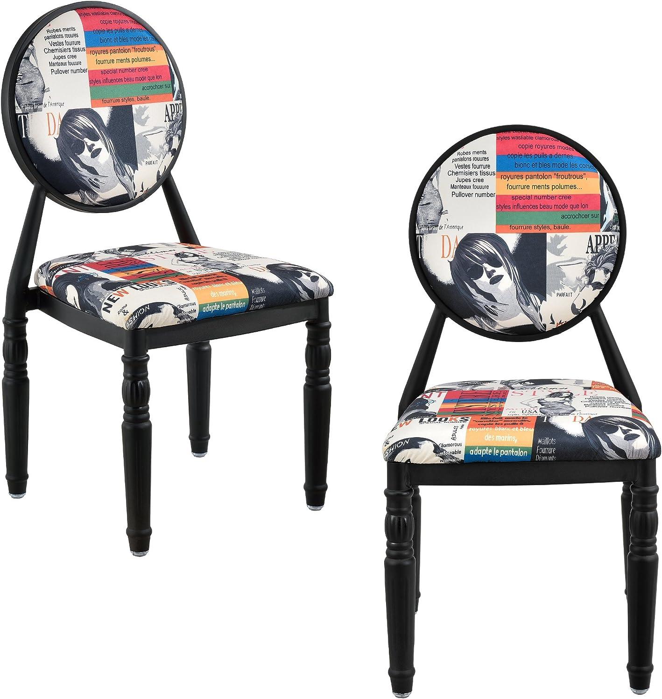 [en.casa] 2 x Design Patchwork Polsterstuhl (Bunt Schwarz) Retro Sessel