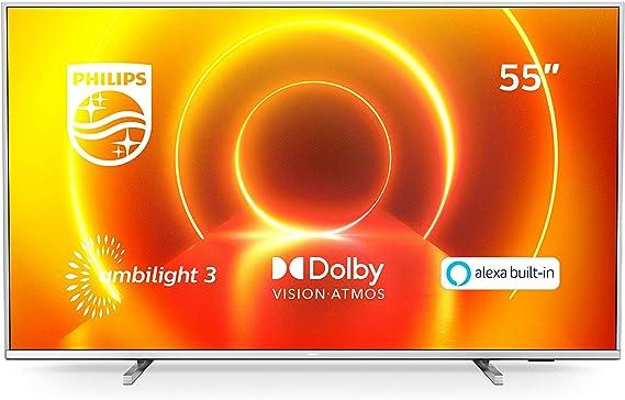 Philips 55PUS7855/12 Ambilight Televisor 4K UHD de 55 Pulgadas (P5 Picture Engine, Asistente Alexa integrada, Smart TV, Función de Control por Voz), Color Plata Claro (Modelo de 2020/2021)