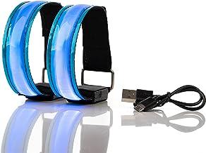Actinetics Aufladbares LED Armband, Leuchtband für Joggen, Laufen – Sicherheitslicht, Reflektor und Blinklicht für Kinder – Blinkende und statische LED-Funktionen, USB aufladbar 2 Stück