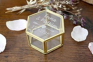 Scatola porta fedi matrimonio, personalizzata con nomi e data, in vetro e metallo dorato, forma esagonale, scatola vetrina...