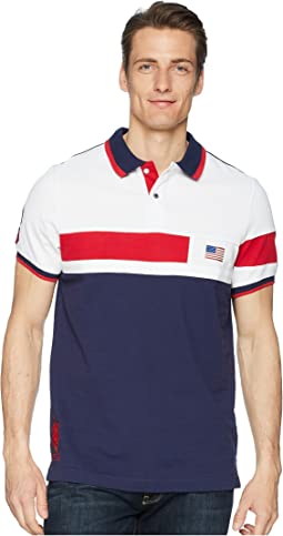 Solid Flag Color Block Polo Shirt