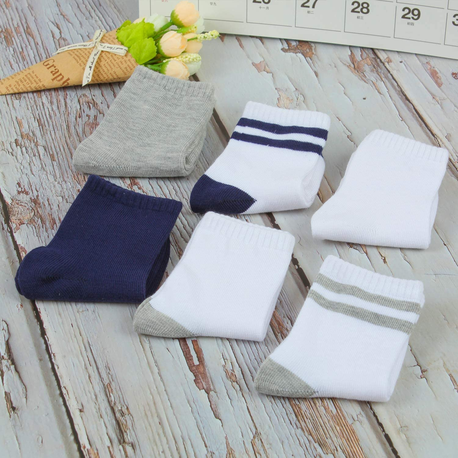 Cooraby 12 Pairs Unisex Toddler Socks Classic Non-Skid Crew Socks, Assorted Colors