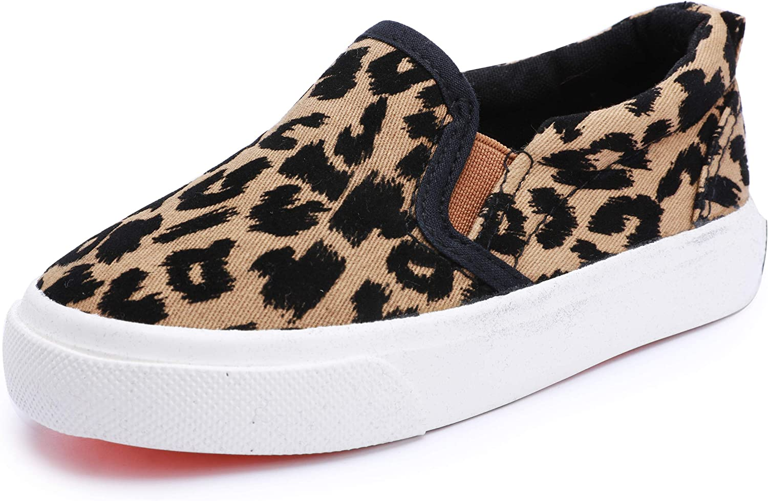 Boy's Girl's Canvas Sneakers Casual Leopard Print Slip-on Loafer Shoes Flats(Toddler/Little Kid)