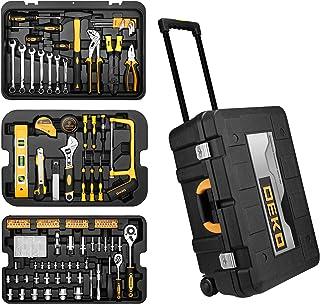 DEKO 258PCS Tool Set Mechanic Household DIY Hand Tool Kit Essential Tools Box with Wheels for Repair and Garage
