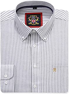 Mens Long Sleeve Shirt,English Oxford Button Down,12 Plain Colors & Matching Stripe Pattern. Combo Pack of Two or Single.A...