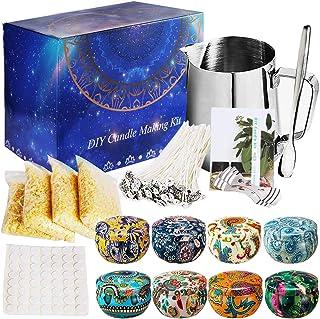 SaiXuan Kit de Fabrication de Bougies de Cire Bricolage,DIY Bougies, 50 mèches de Bougie,1 Pot de Fabrication,8 boîtes de ...