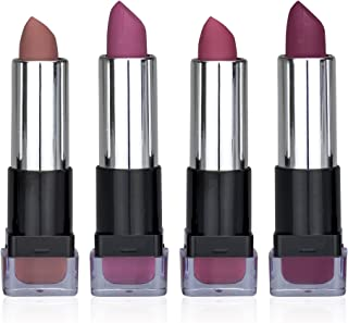 Ellen Tracy Perfect Color Everyday Wear Matte Crème Lipstick Collection For Girls and Women (4 Pack)
