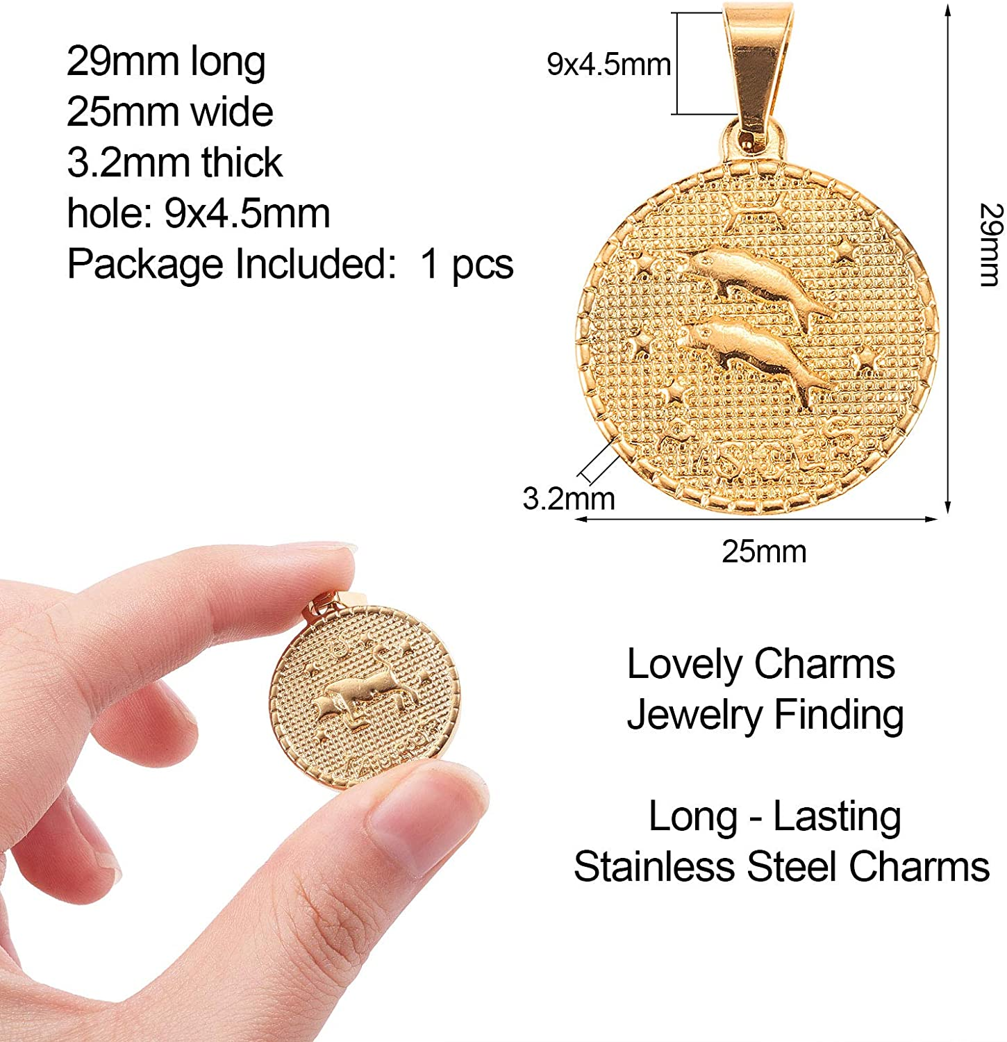 DanLingJewelry 100Pcs 304 Stainless Steel Mixed Charms Pendants for DIY Jewelry Making and Crafting
