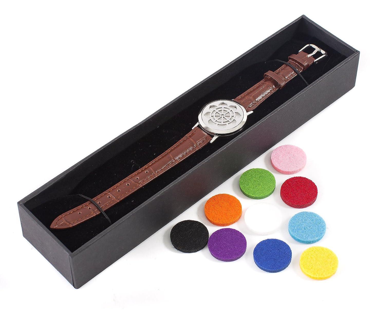 ガラガラ百放射するMystic Moments   Dharma Wheel   Aromatherapy Oil Diffuser Bracelet with Adjustable Brown Leather Strap