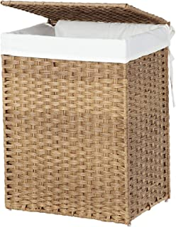 SONGMICS Handwoven Laundry Basket, 90L Foldable Laundry Hamper, Removable Liner Bag, Natural ULCB51NL