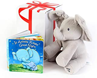 """GUND BABY ANIMATED FLAPPY THE ELEPHANT PLUSH TOY with """"IF ANIMALS KISSED GOODNIGHT"""" Book, For Birthdays , Holidays And Baby Showers. Great For Babies And Toddler Toys. Gift set bundle by Rimon"""