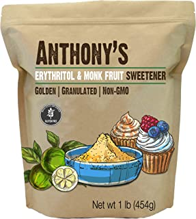 Sponsored Ad - Anthony's Erythritol and Monk Fruit Sweetener Golden, 1 lb, Granulated, 1 to 1 Brown Sugar Substitute, Non ...