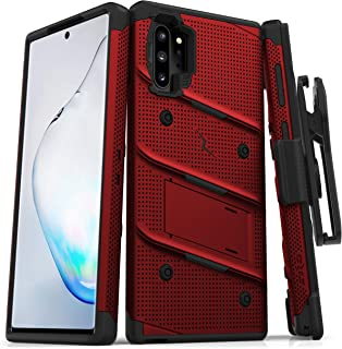 ZIZO Bolt Series Samsung Galaxy Note 10 Plus Case   Heavy-Duty Military-Grade Drop Protection w/Kickstand Included Belt Clip Holster Lanyard (Red/Black)
